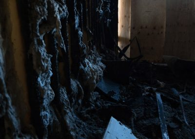 House wall burnt in fire